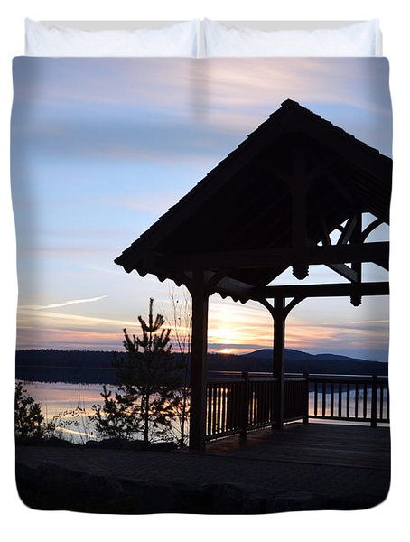 Tupper Lake Sunset Over Raquette Pond Duvet Cover by Maggy Marsh