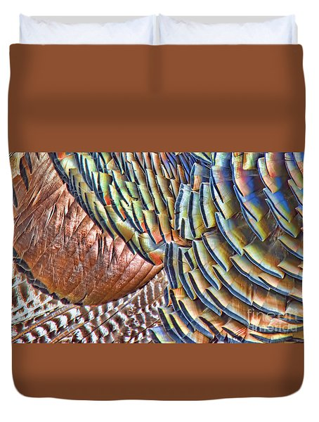 Turkey Feather Colors Duvet Cover