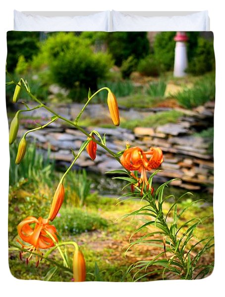 Duvet Cover featuring the photograph Turk's Cap Lily by Kathryn Meyer