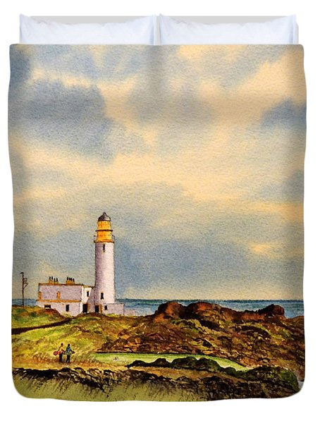 Turnberry Golf Course 9th Tee Duvet Cover by Bill Holkham