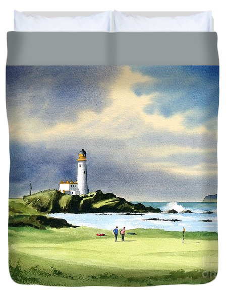 Turnberry Golf Course Scotland 10th Green Duvet Cover by Bill Holkham