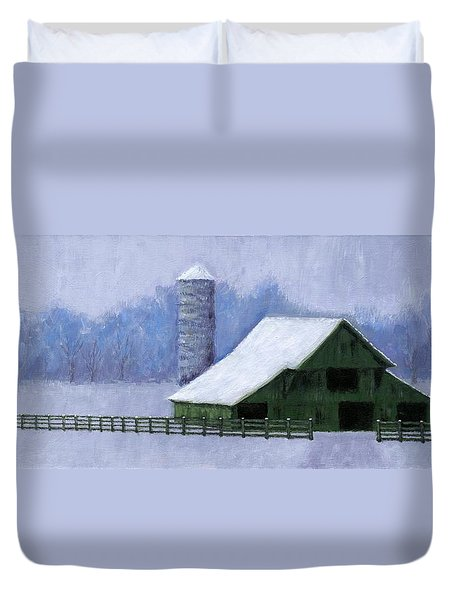 Duvet Cover featuring the painting Turner Barn In Brentwood by Janet King