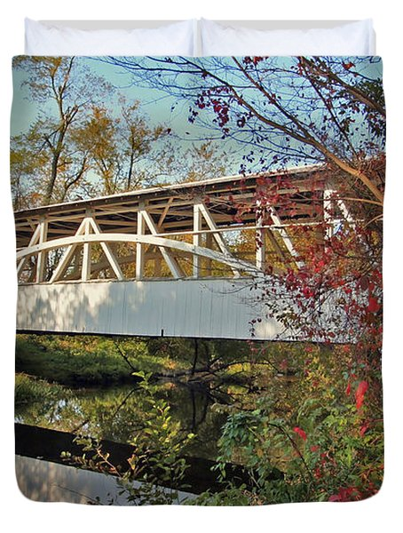 Duvet Cover featuring the photograph Turner's Covered Bridge by Suzanne Stout