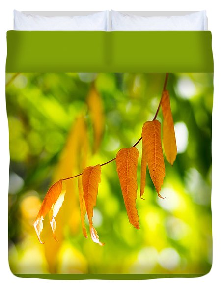 Duvet Cover featuring the photograph Turning Autumn by Aaron Aldrich