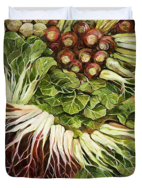 Turnip And Chard Concerto Duvet Cover by Jen Norton