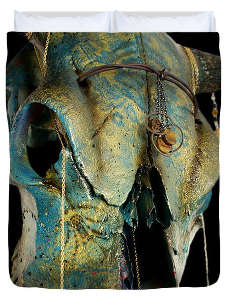 Turquoise And Gold Illuminating Steer Skull Duvet Cover