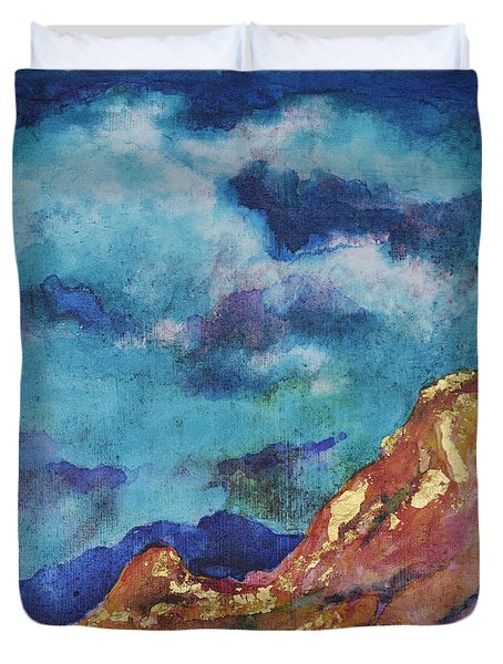 Duvet Cover featuring the painting Turquoise And Gold by Joan Hartenstein