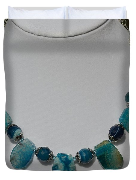 Turquoise And Sapphire Agate Necklace 3674 Duvet Cover by Teresa Mucha