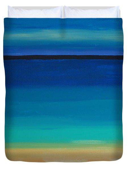 Turquoise Beach Scene Middle Panel Duvet Cover