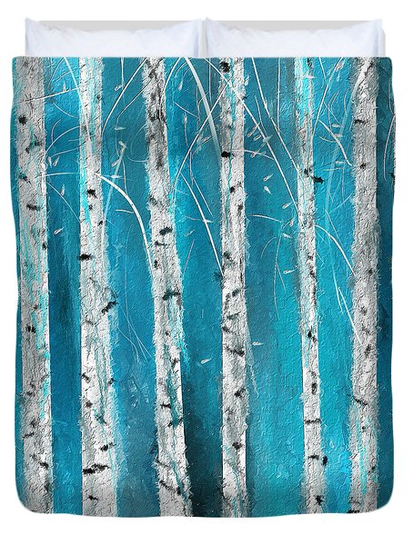Turquoise Birch Trees II- Turquoise Art Duvet Cover