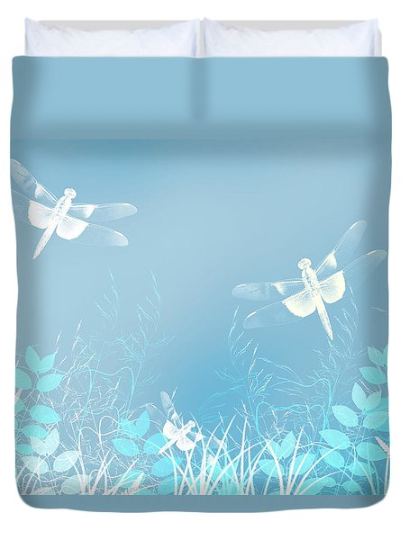 Turquoise Dragonfly Art Duvet Cover by Christina Rollo