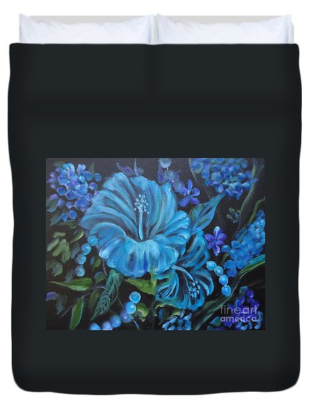 Turquoise Hibiscus Duvet Cover by Jenny Lee
