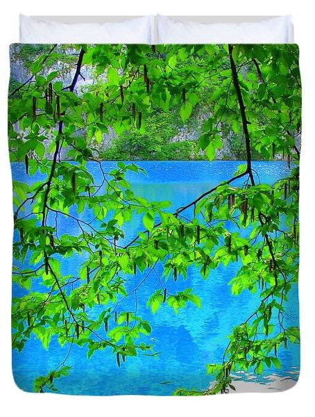 Turquoise Lake Duvet Cover by Ramona Johnston