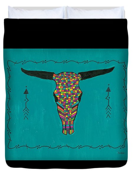 Duvet Cover featuring the painting Turquoise Longhorn Skull by Susie Weber