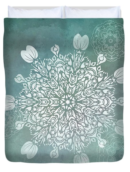 Duvet Cover featuring the digital art Turquoise Mandala Float by Deborah Smith