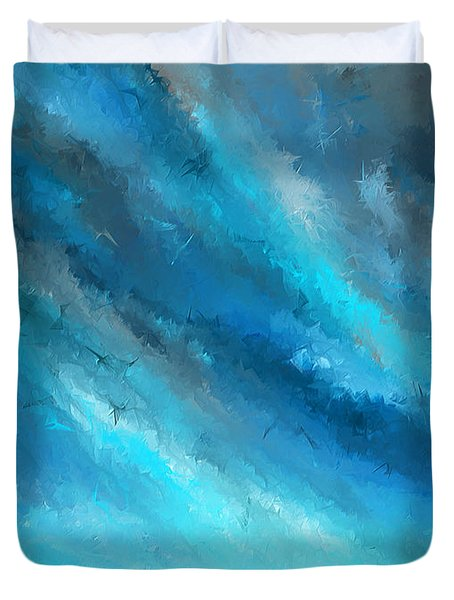 Turquoise Memories - Turquoise Abstract Art Duvet Cover