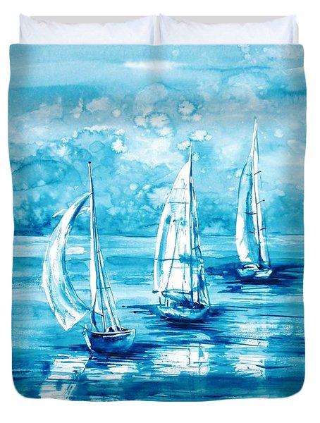 Turquoise Morning Duvet Cover by Zaira Dzhaubaeva