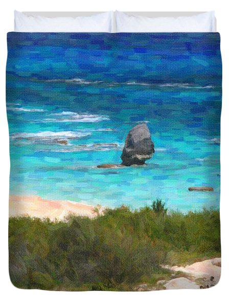 Duvet Cover featuring the photograph Turquoise Ocean And Pink Beach by Verena Matthew
