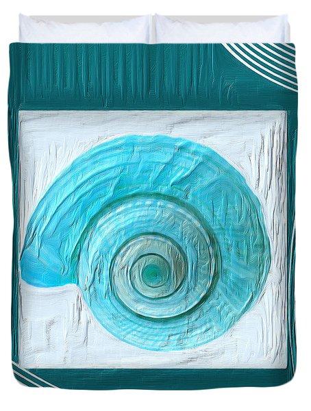 Turquoise Seashells Xvii Duvet Cover