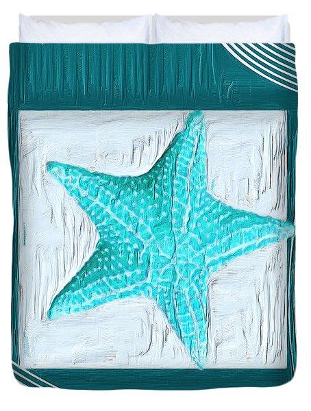 Turquoise Seashells Xviii Duvet Cover