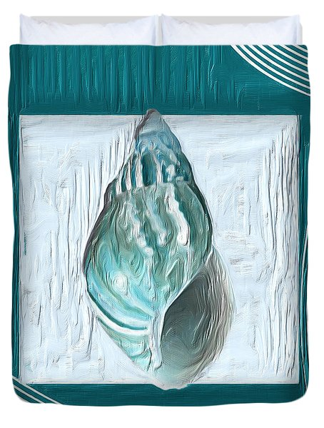 Turquoise Seashells Xx Duvet Cover by Lourry Legarde