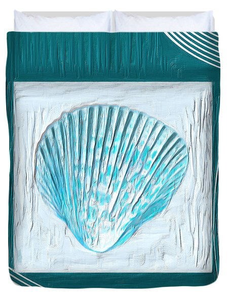 Turquoise Seashells Xxiii Duvet Cover by Lourry Legarde