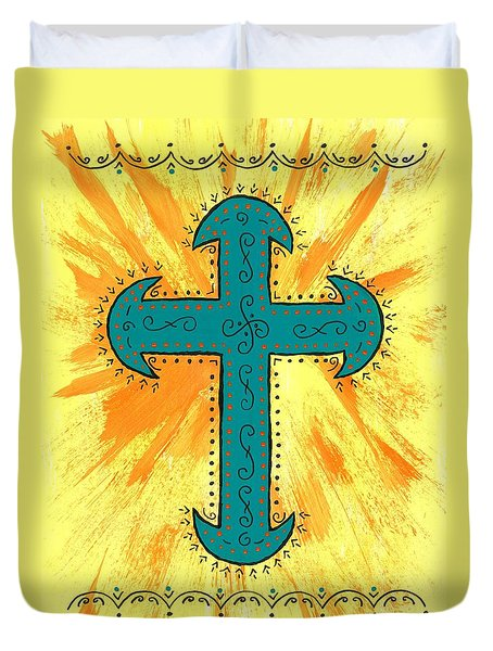 Duvet Cover featuring the painting Turquoise Southwestern Cross by Susie Weber