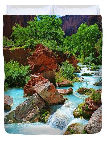 Turquoise Stream Duvet Cover