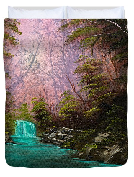 Turquoise Waterfall Duvet Cover by Chris Steele