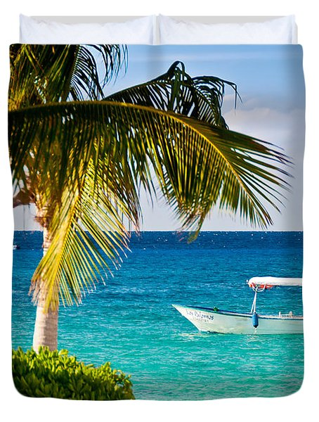 Duvet Cover featuring the photograph Turquoise Waters In Cozumel by Mitchell R Grosky