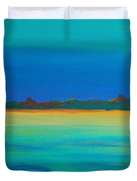 Turquoise Waters Land Ahead Duvet Cover