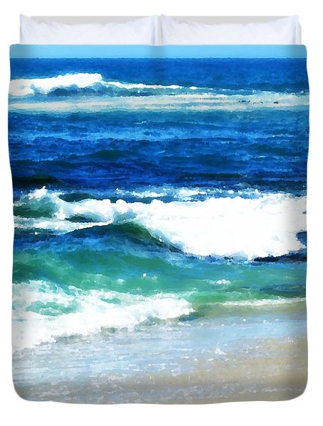 Turquoise Waves... Duvet Cover by Sharon Soberon