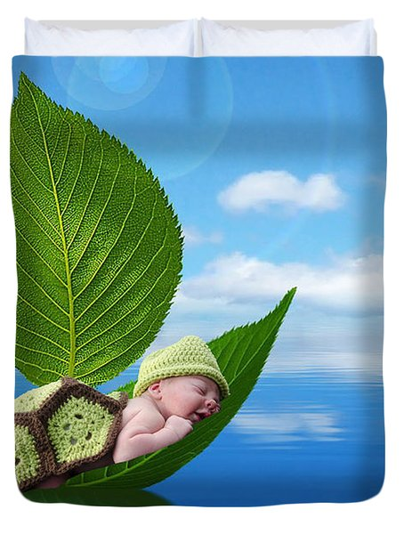 Turtle Baby In A Leaf Boat Duvet Cover by Maureen E Ritter