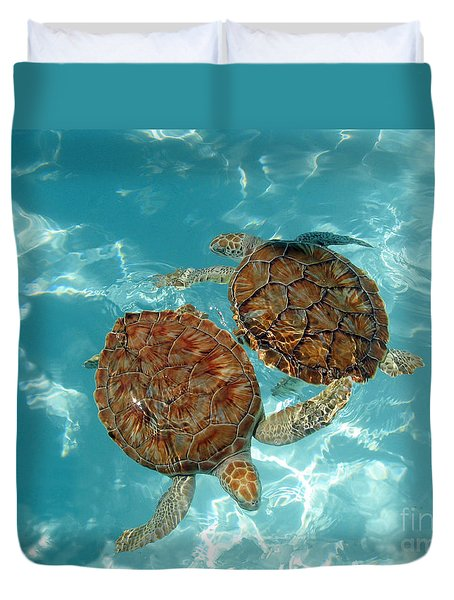 Turtle Dance Duvet Cover by Irina Davis