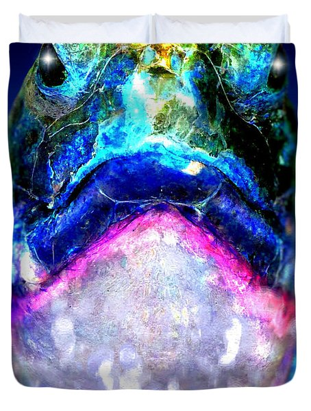 Duvet Cover featuring the digital art Turtle by Daniel Janda
