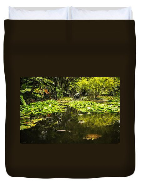 Turtle In A Lily Pond Duvet Cover