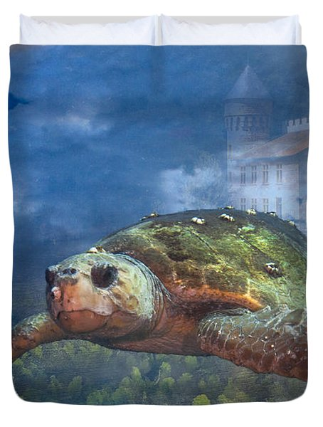 Turtle In Atlantis Duvet Cover