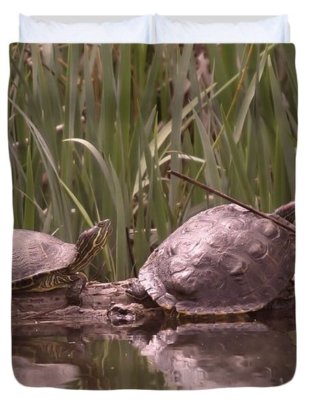 Turtle Struggling To Rest On A Log With Its Buddy Duvet Cover by Jeff Swan
