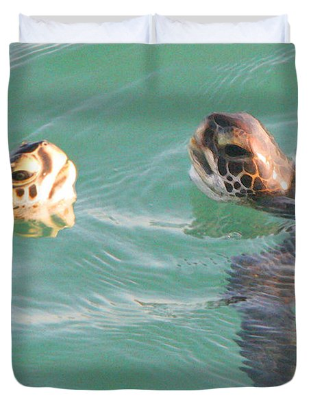Sea Turtles Talking Duvet Cover