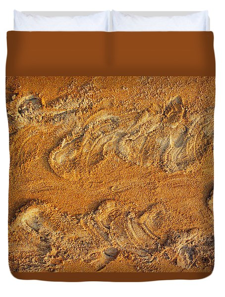 Duvet Cover featuring the photograph Turtle Tracks by Paul Rebmann