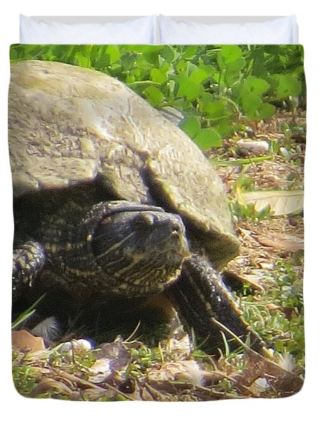 Duvet Cover featuring the photograph Turtle Up Close by Ella Kaye Dickey