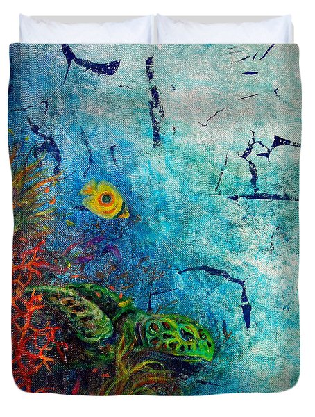 Turtle Wall 1 Duvet Cover