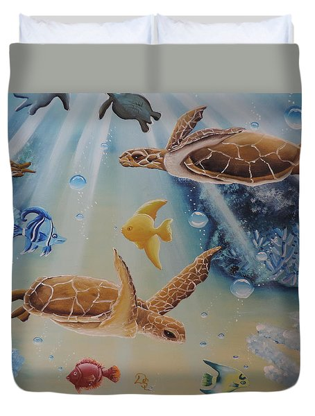 Duvet Cover featuring the painting Turtles At Sea #2 by Dianna Lewis