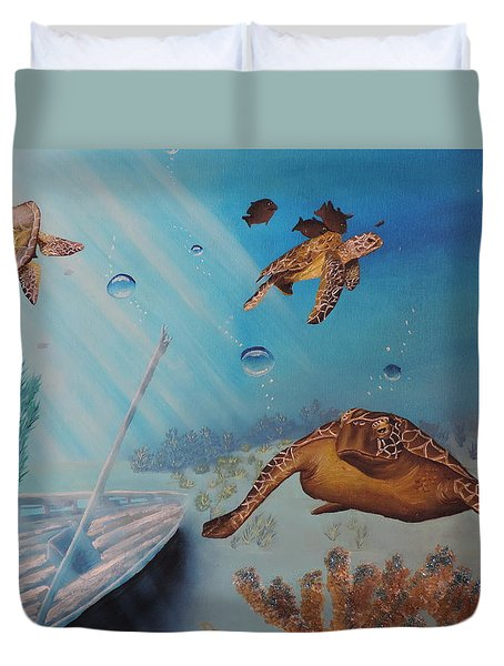Duvet Cover featuring the painting Turtles At Sea by Dianna Lewis