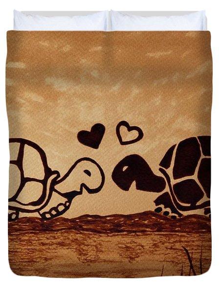 Turtles Love Coffee Painting Duvet Cover