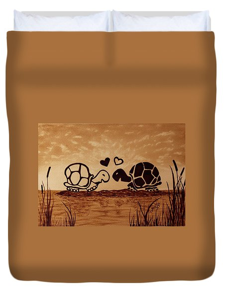 Turtles Love Coffee Painting Duvet Cover