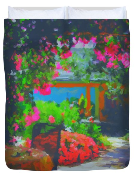 Duvet Cover featuring the painting Tuscan Courtyard by Tim Gilliland
