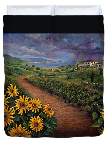 Tuscan Landscape Duvet Cover by Claudia Goodell