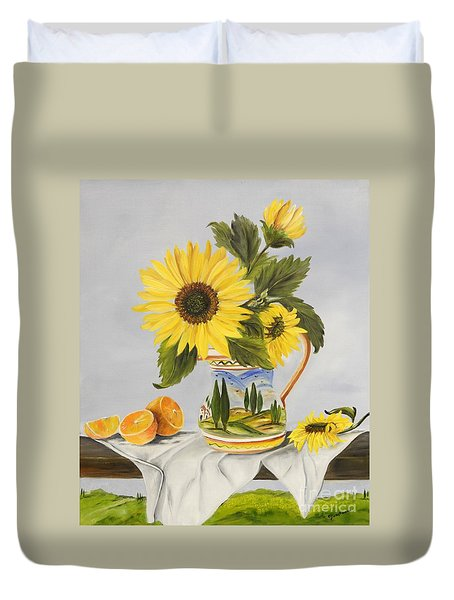Tuscan Pitcher And Sunflowers Duvet Cover
