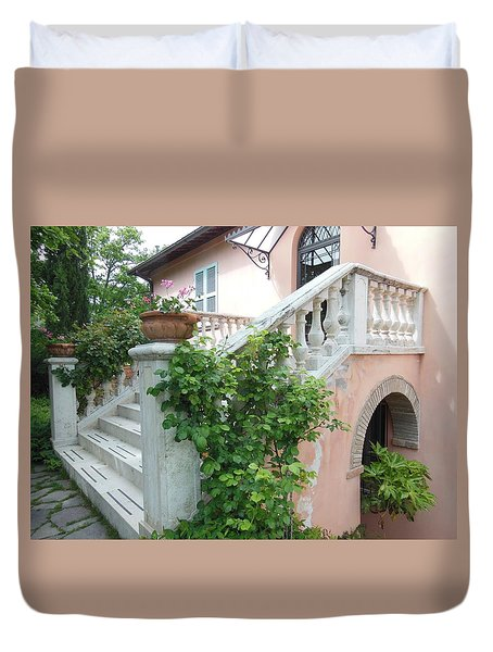 Tuscan Staircase With Flowers Duvet Cover by Marilyn Dunlap